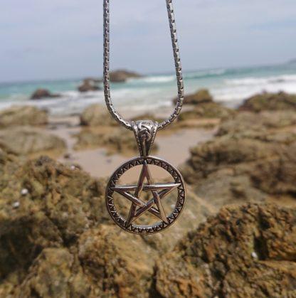 Solid steel pentagram Necklace