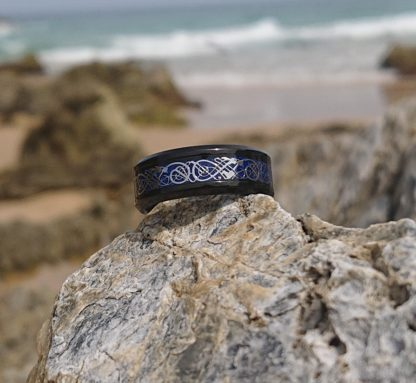 Black and Blue Dragon ring