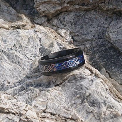 Black and blue titanium Dragon ring