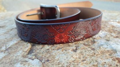 Brown Leather Dragon Belt