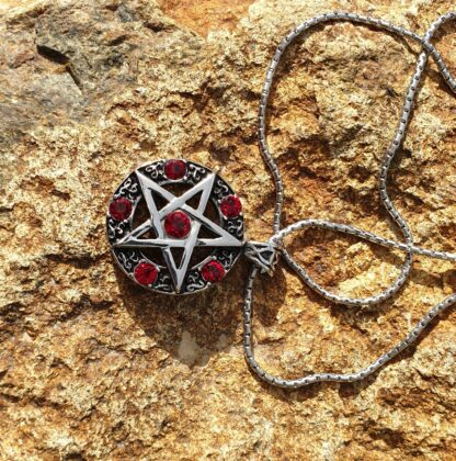Red Jewelled Pentagram Necklace