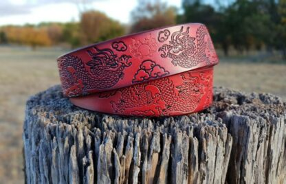 Red Leather Dragon Belt