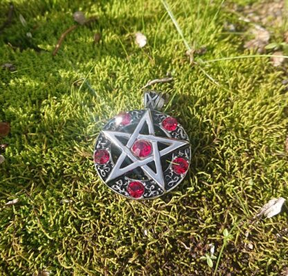 Red Jeweled Pentagram Pendant