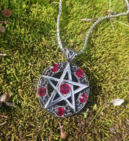 Red Jeweled Pentagram Necklace