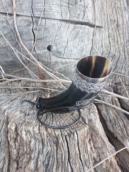 Black curved Drinking Horn