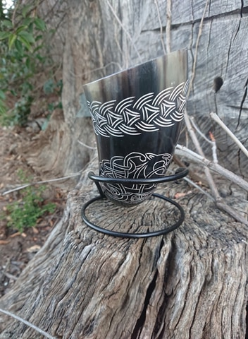 Black carved Drinking Horn
