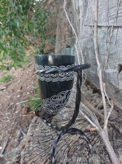 Black carved Drinking Horn