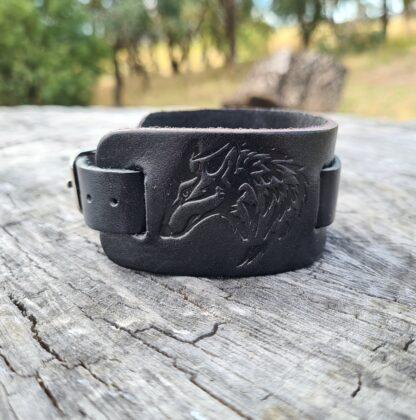 leather Wolf Cuff