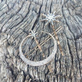 Moon and Stars hair clip