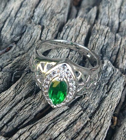 Green Oval Elven Ring