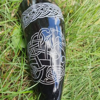 Small Black Carved Drinking Horn