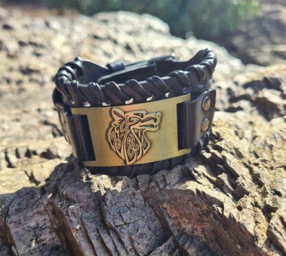 Brass Leather wolf Cuff