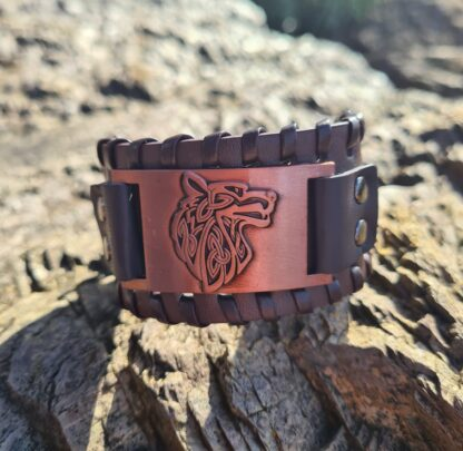 Copper and leather Wolf Bracelet