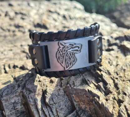 Metal and leather wolf Cuff