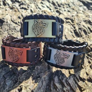 Leather and Metal Wolf Cuff
