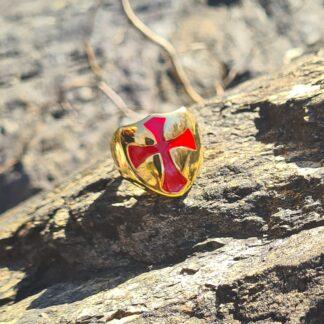 Red Crusader Shield Ring