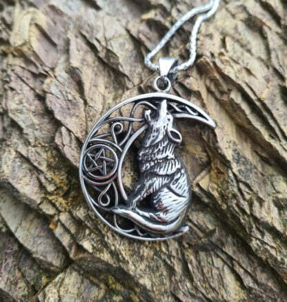 Moon and Wolf Necklace
